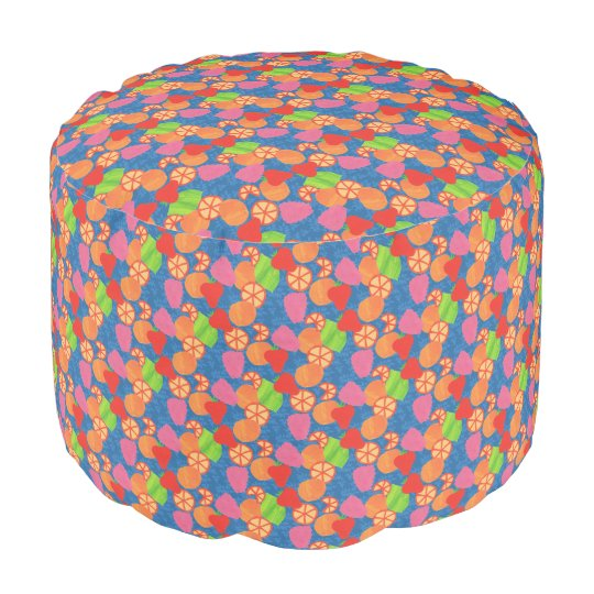 Colourful Summer Fruits Pattern on Deep Blue Pouf