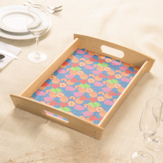 Colourful Summer Fruits Pattern on Deep Blue Serving Tray