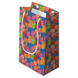 Colourful Summer Fruits Pattern on Deep Blue Small Gift Bag