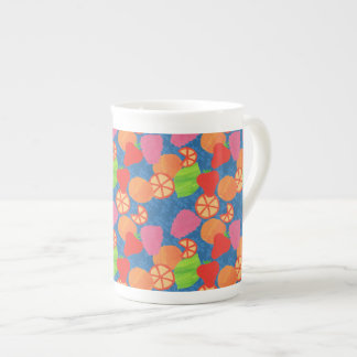 Colourful Summer Fruits Pattern on Deep Blue Tea Cup