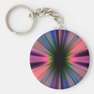 Colourful sunburst rays basic round button keychain