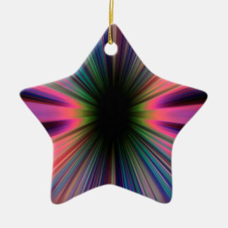 Colourful sunburst rays ceramic ornament