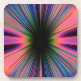 Colourful sunburst rays coaster
