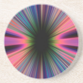 Colourful sunburst rays drink coaster
