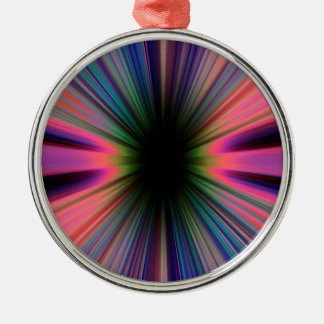 Colourful sunburst rays Silver-Colored round ornament