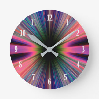 Colourful sunburst rays wall clock