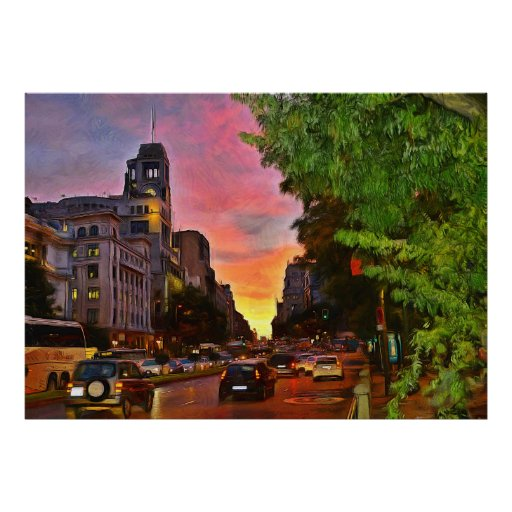 Colourful sunset over the Gran Vía Poster