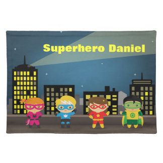 Colourful Superhero City Skyline For Kids Placemat