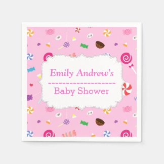 Colourful Sweet Candy Baby Girl Shower Napkins Paper Napkins