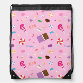 Colourful Sweet Candy Pattern For Girls Drawstring Bag