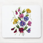 Colourful Sweet Peas Embroidered Mouse Pad
