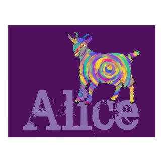 Colourful Swirling Goat change to your name Postcard