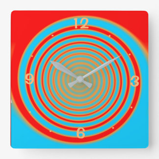 Colourful Swirly Red and Aqua> Kitchen Clock