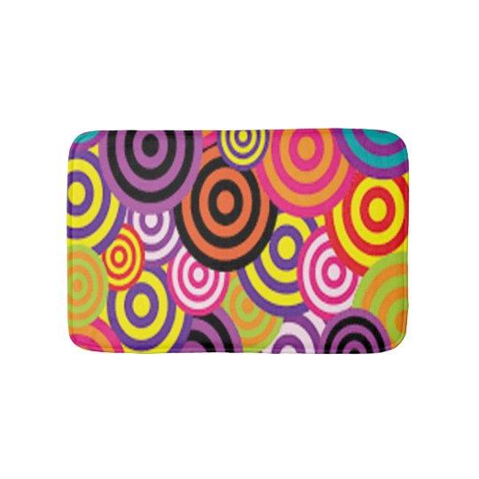 Colourful Target Circles Bathroom Mat