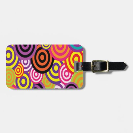 Colourful Target Circles Luggage Tag
