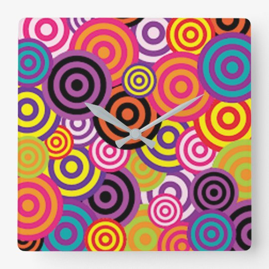 Colourful Target Circles Square Wall Clock