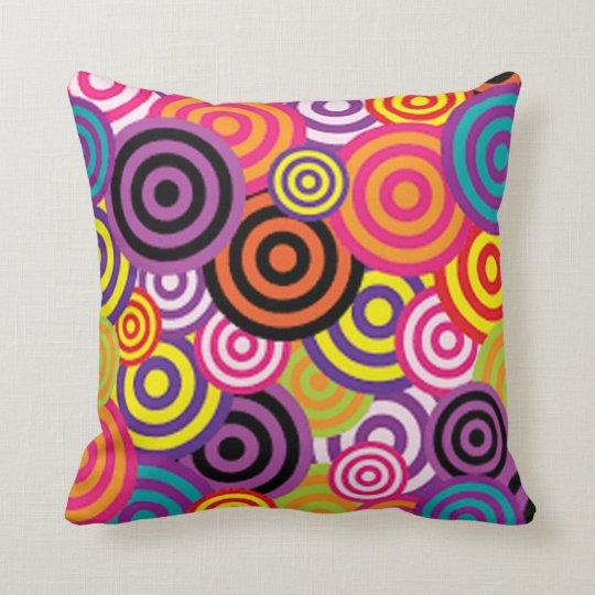 Colourful Target Circles Throw Pillow