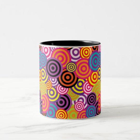 Colourful Target Circles Two-Tone Coffee Mug