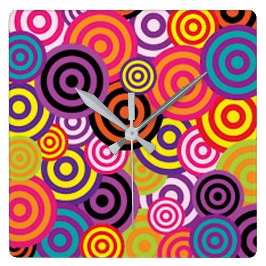 Colourful Target Circles Wallclocks