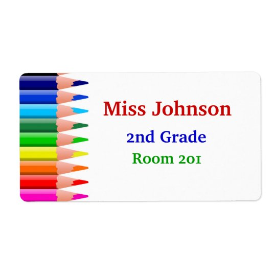 Colourful Teacher's Name Tags Shipping Label