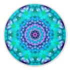 Colourful Teal and Purple Tropical Waters Mandala Ceramic Knob