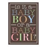 Colourful Text Baby Boy or Girl Gender Reveal