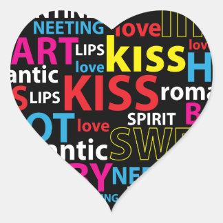 Colourful Text Design- Love Kiss Lips Heart Sticker