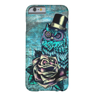 Colourful textured owl illustration on teal base. barely there iPhone 6 case