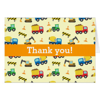 Colourful Thank You, Construction Vehicles Pattern Card