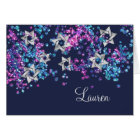 Colourful Thank You Silver Star Glittery Confetti Card