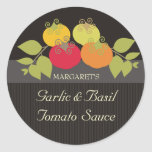 Colourful tomatoes basil gift tags food stickers