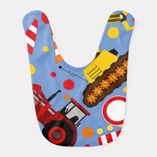 Colourful tractor and bulldozer polka dot baby boy bib