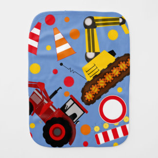 Colourful tractor and bulldozer polka dot baby boy burp cloth