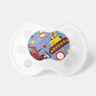 Colourful tractor and bulldozer polka dot baby boy pacifier