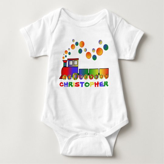 Colourful Train Personalized Baby Bodysuit