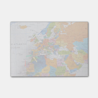 Colourful Travel Map Post-it Notes