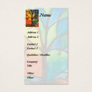 Colourful Tree Stained Glass Business Card
