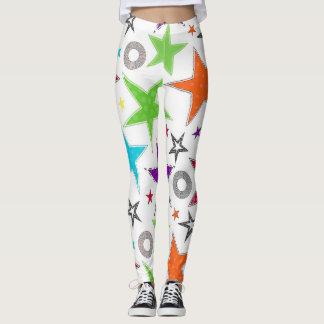 Colourful trendy stars leggings