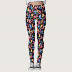 Colourful Triangle Pattern Pug Silhouette Pug Love Leggings