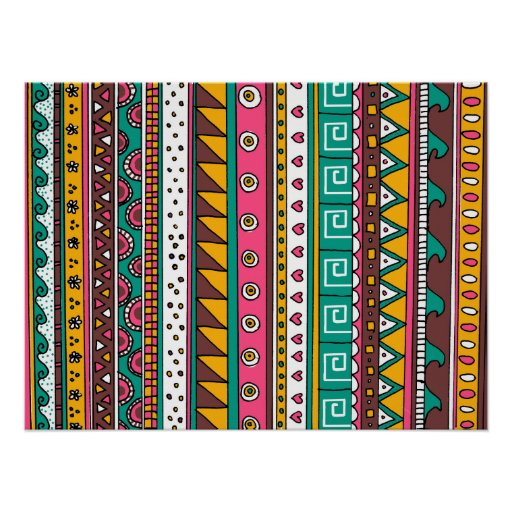 Colourful Tribal pattern Poster