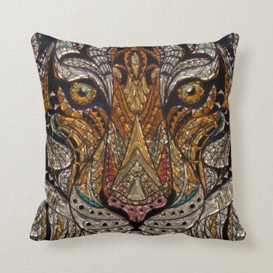 Colourful Tribal Tiger Mask Mosaic Throw Pillow