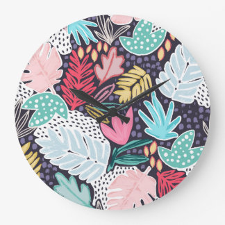 Colourful Tropical Collage Clock Navy