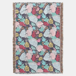 Colourful Tropical Collage Navy Base Blanket Throw Blanket