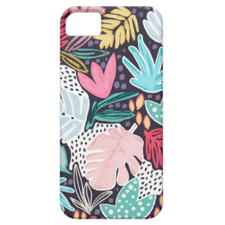 Colourful Tropical Collage Navy Pattern Phonecase iPhone 5 Case
