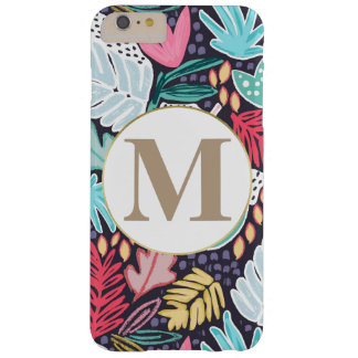 Colourful Tropical Collage Pattern & Monogram Barely There iPhone 6 Plus Case