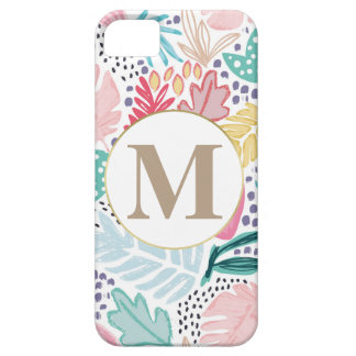 Colourful Tropical Collage Pattern & Monogram iPhone 5 Cover