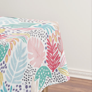Colourful Tropical Collage Tablecloth White Base