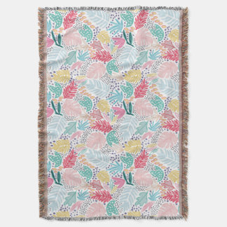 Colourful Tropical Collage White Fringed Blanket Throw Blanket