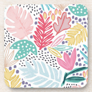 Colourful Tropical Collage White Pattern Coasters