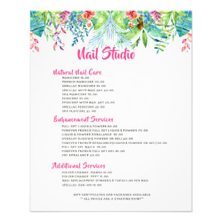 Colourful Tropical Flowers Border Price List Flyer